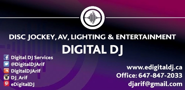 GTA DISC JOCKEY PERFORMANCES - Toronto DJ Services ~ FUSION FUZION WEDDING DJ SERVICES - DIGITAL DJ ~ Weddings, Anniversaries, School Events, Birthdays, Sweet 16, Corporate Socials, Company Holiday Party & New Years Eve! Office# 647-847-2033